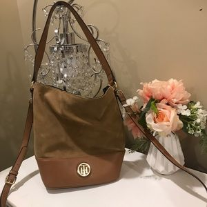 Tommy Hilfiger Suede and Leather Brown Handbag